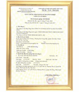 Ảnh giấy chứng nhận công ty bảo vệ chuyên nghiệp tại Hà Nội